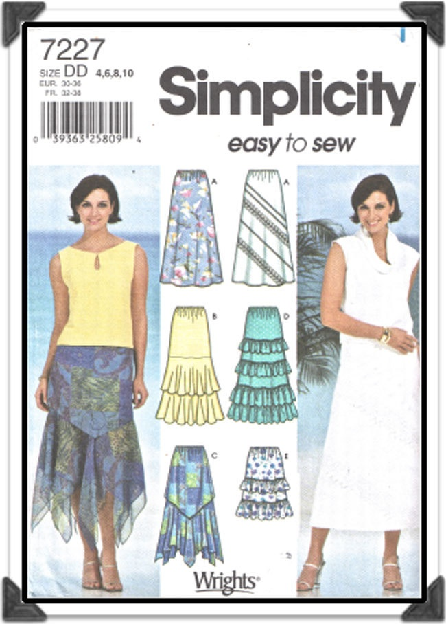 SIMPLICITY Pattern 7715 - Misses Skirts w/Tier, Ruffle, Handkerchief Hem and Diagonal/Bias Options - Sz 4-6-8-10 - Uncut/FF - Vintage 2000s. $5.00, via Etsy.