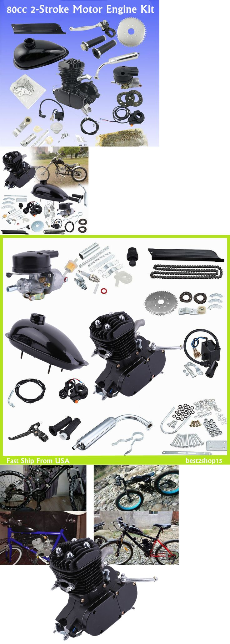 Gas Scooters 75211: New Motor Motorized Chopper Bike Bicycle Gas Engine 80Cc Scooter Moped Kit Us Hp -> BUY IT NOW ONLY: $98 on eBay!