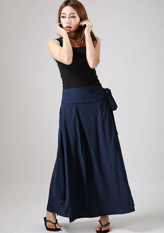 Blue skirt woman warp skirt custom made  linen skirt by xiaolizi, $69.00
