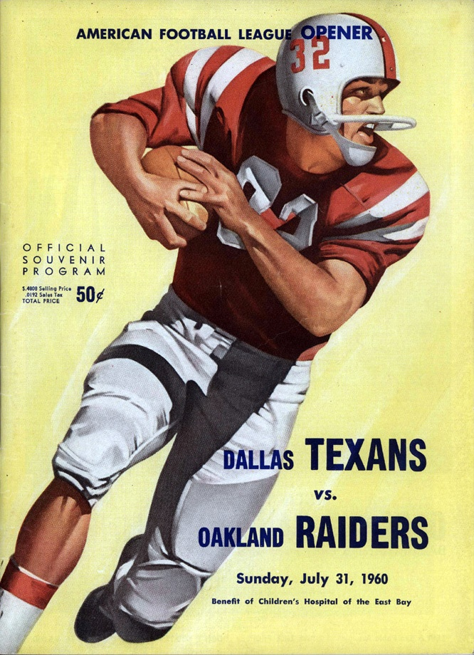 AFL game program (Dallas Texans at Oakland Raiders — July 31, 1960)