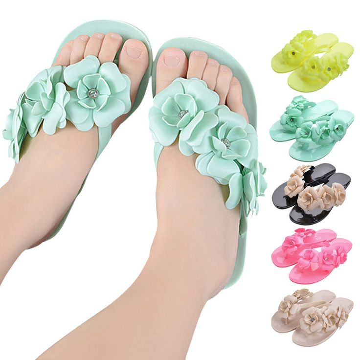 Summer Sweet Girls Slippers Camellia Women Beach Flip Flops Flat Rhinestone Flowers Flip Flops Beach Slippers High Quali BS88 - CattleyaStore CattleyaStore