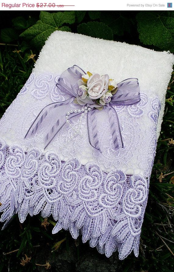 decorative hand towel cream and lilac roses with lilac trim lace - Decorative Towels