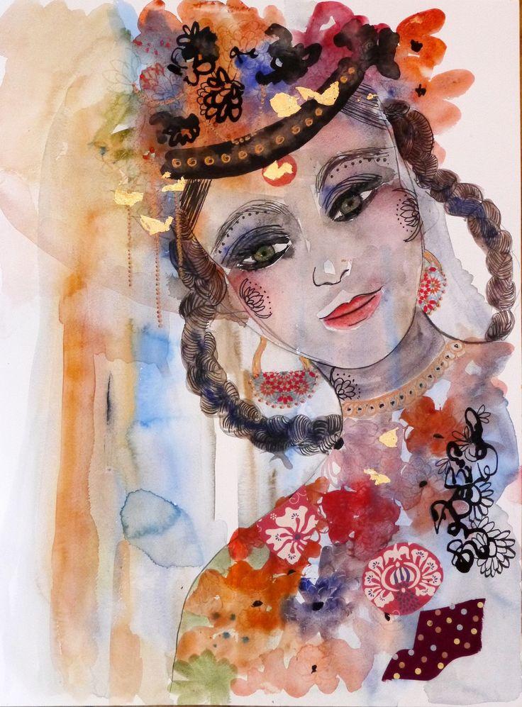 """Art Contemporain, Art Original, Peinture Moderne,""""le mariage de Thuyamani"""" : Peintures par cyane-art-contemporain"""