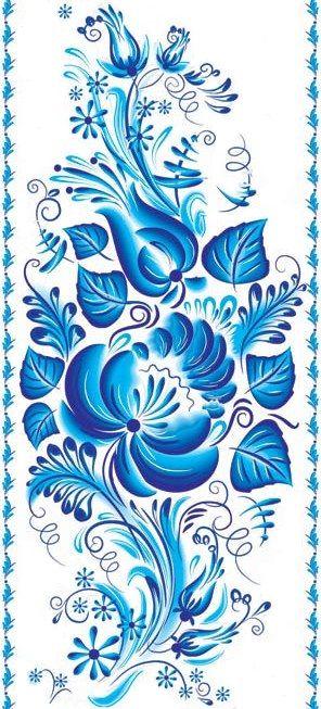 Russian pattern. Folk Gzhel painting from Russia. #art