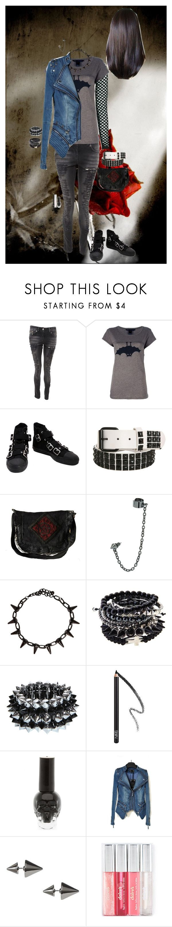 """""""Look 2-27"""" by candy-coated-doom ❤ liked on Polyvore featuring Crafted, Marc by Marc Jacobs, Hot Topic, Topman, NARS Cosmetics, Banana Republic, emo and HIWIDIHS"""