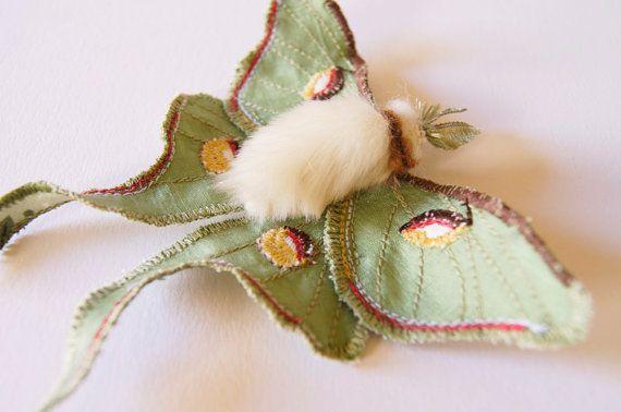 Luna Moth Statement Fiber Brooch Saturniid Butterfly Natural | Etsy