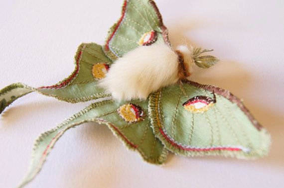 Luna Moth Statement Brooch Soft Sculpture Saturniid Butterfly Natural History Gift for Her Nature Lover Gift Woodland Fashion Fiber Art