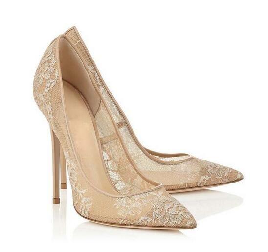 2016 Summer New Brand Desiner High Heel Shoes Elegant Lace Mesh Dress Shoes Pumps Ladies Slip On Thin Heels Sandal Free Shipping