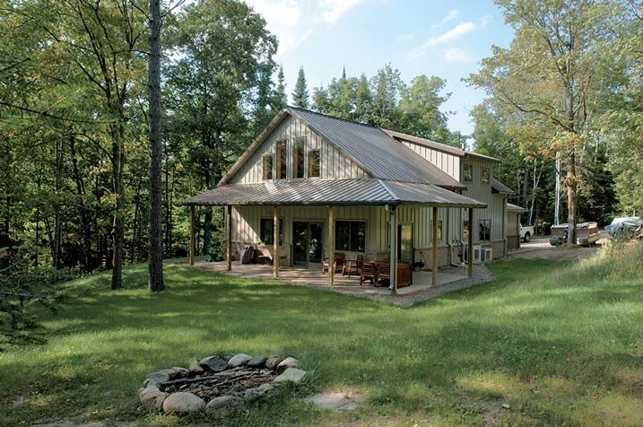 Ideal Metal Building Home w/ Porch & Brick Wainscot (HQ Pictures) | Metal Building Homes