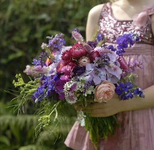 Lilac and Blue coloured vintage style bouquet.