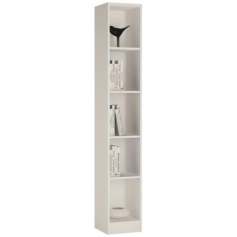 sutton tall narrow bookcase pearl white 4 shelves