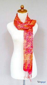 Golden Pink. Batik silk scarf made in Indonesia for women fashion. We hand-pick the design based on the color, pattern, size and layout thus there will be only one of its kind. Learn more of our products at www.vergaya.com