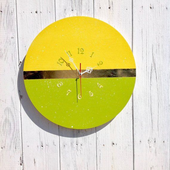 Yellow Wall Kitchen Clock Unique Modern Design Succulent Colors Decorative Clock Round Colorful Decor Minimalist Lime Green Clock Green Wall Clocks Clock Decor Living Room Clocks