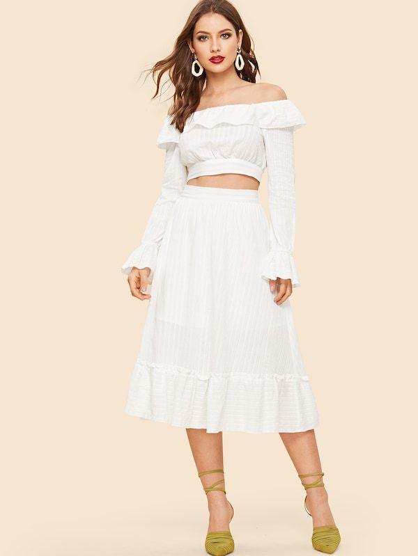 7b3fa47ec79 70s Off Shoulder Foldover Top & Pleated Skirt Set -SHEIN(SHEINSIDE ...