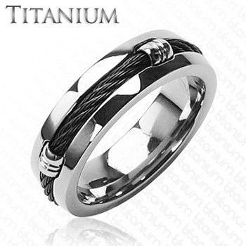 Titanium Onyx - Solid Woven Cord Coiled Around The Center Highly Polished Titanium Wedding Ring. #BuyBlueSteel #MensWeddingRings