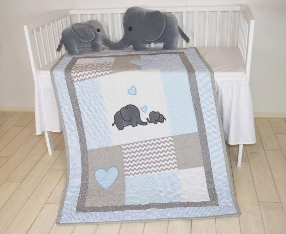 Elephant Baby Quilt, Blue Gray Crib Bedding, Chevron Elephant Blanket, Grey Safari Nursery  The cute elephant baby blankets nice for boys too, with different colours of course. I used the timeless chevron pattern, and made the applications with patchwork technique. Can be made any size and colour, or with different applications. On this custom made quilt set each applique is hand stitched. The entirely handcrafted baby quilt bedding is quilted with batting.  The measurements of this blanket…