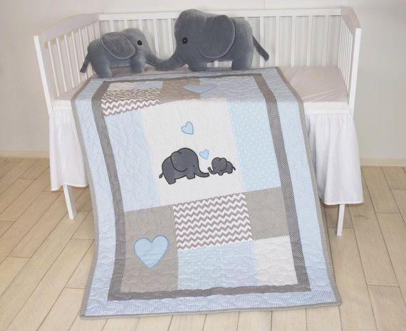 Elefantino trapunta lenzuola culla grigio blu di Customquiltsbyeva