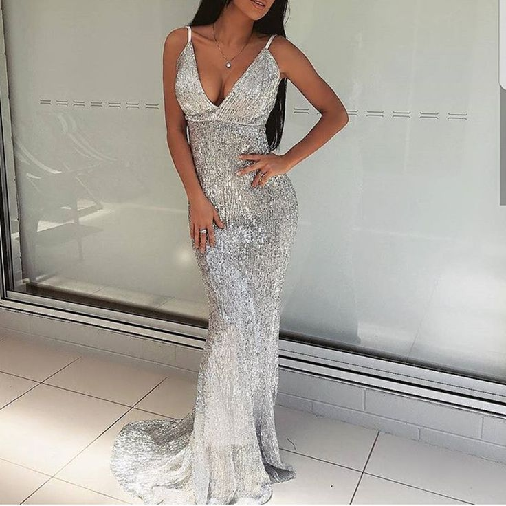 Sexy Silver Sequined Maxi Party Dress Stretch Floor Length Navy Sequins Backless Padded Bodycon V Neck Full Lining Black Dress-in Dresses from Women's Clothing & Accessories on Aliexpress.com | Alibaba Group