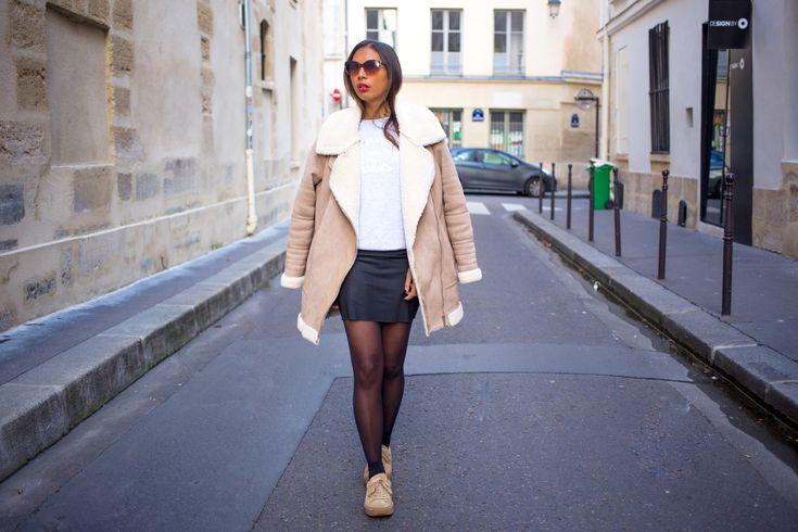 Wearing: Zara shearling coat, De paris sweat, American Apparel skirt & Puma x Fenty trainers.
