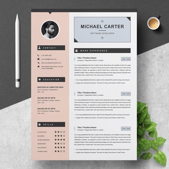 Modern Resume Cv Template 3 Page Resume Template Cv