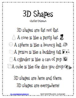 3D shapes poem, going to print and share with my K and 2nd grade teachers (their kiddos will appreciate the cuteness).