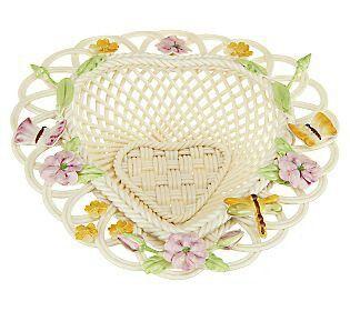 Belleek Butterfly Heart Basket (pink/orange) $87.60 at QVC.com