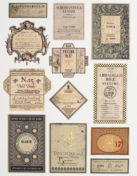 «Harry Potter» labels for spells!  Site has everything for a Harry Potter party!