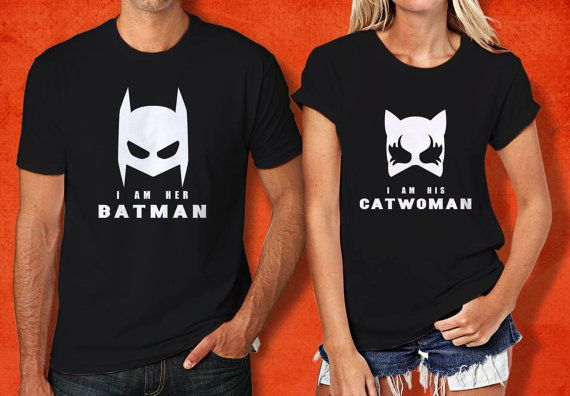 Her Batman and His Catwomen Mask Couple Tshirt Batman by PHIROES