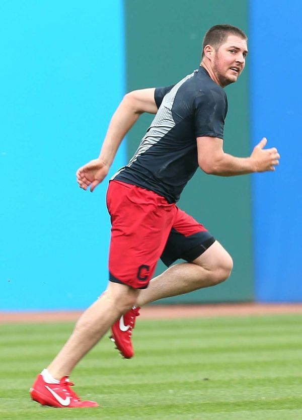 Cleveland Indians Trevor Bauer running sprints during batting practice, keeping an eye on the A's taking batting practice, before the game against the Oakland Athletics at Progressive Field, Cleveland, Ohio, on May 29, 2017. (Chuck Crow/The Plain Dealer). Indians won 5-3