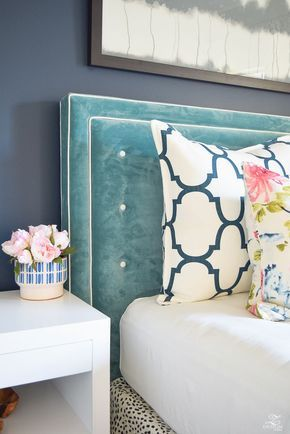 teal blue velvet tufted headboard navy blue wall sherwin williams gentlemans gray paint-1