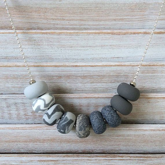 Shades of grey necklace polymer clay necklace by Rubybluejewels