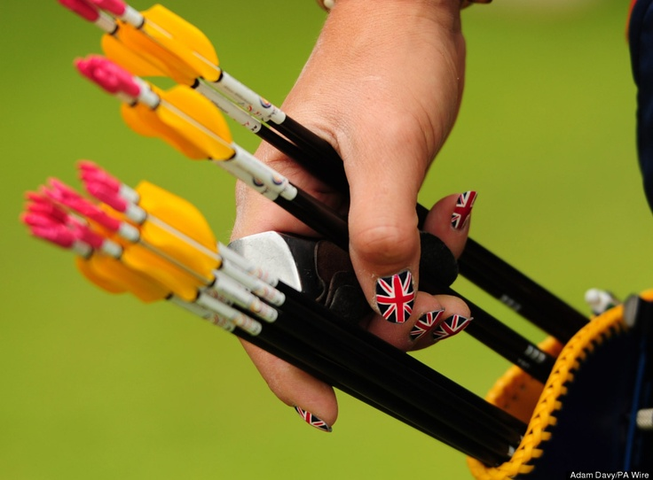 Great Britain's Alison Williamson with painted finger nails during the Women's Individual Archery Ranking Round at Lords Cricket Ground, London. #NailArt