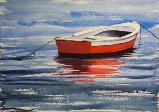 Red Dinghy, 14x20 #watercolor #painting $195. #art
