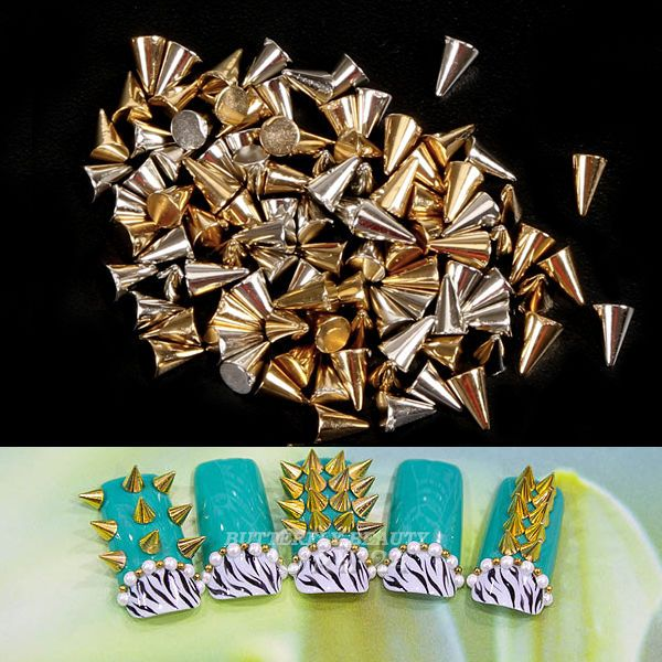 100pcs 3D Nail Art Cone Metal Alloy Tiny Stick DIY Punk Style Bullet Shape Rivet