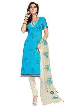 Sky Blue Embroidered Chanderi Churidar Suit