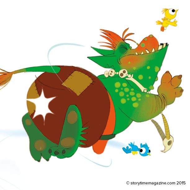 The end of the troll! Illustrated by Dankerleroux (http://dankerleroux.blogspot.co.uk) in Storytime Issue 10's Three Billy Goats Gruff  ~ STORYTIMEMAGAZINE.COM