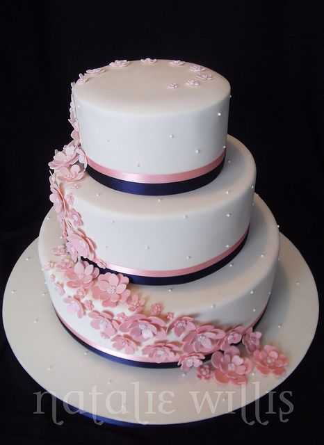 Pink and Navy Wedding Cake by SweetTart Cakes {Natalie}, via Flickr