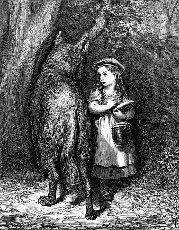 "Gustave Doré | ""Little Red Riding Hood meets old father wolf."" 