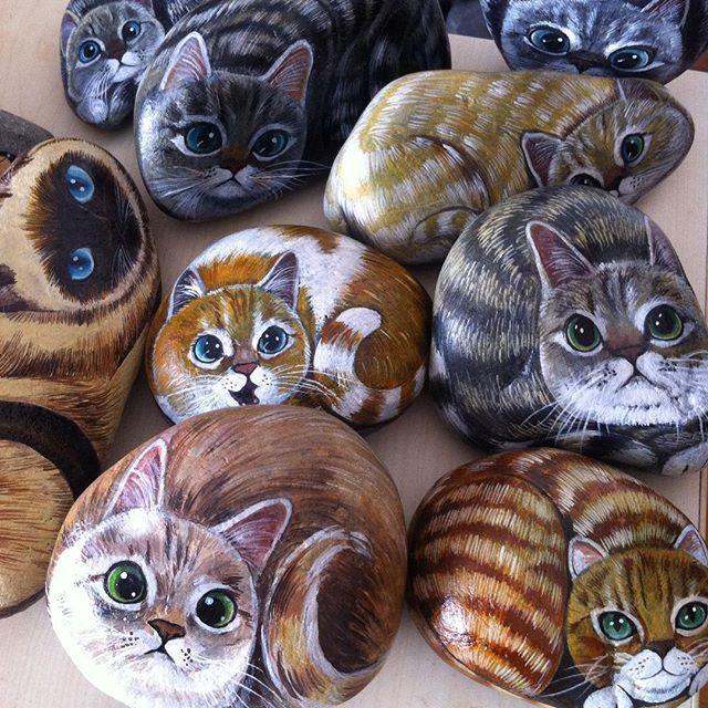 Kediler!! :) #kediler #sarman #tekir #siyam #hediye #elyapımı #doğal #taş…