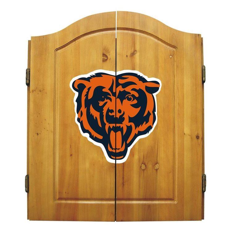 Chicago Bears Dart Board Cabinet & Bristle Dartboard Set