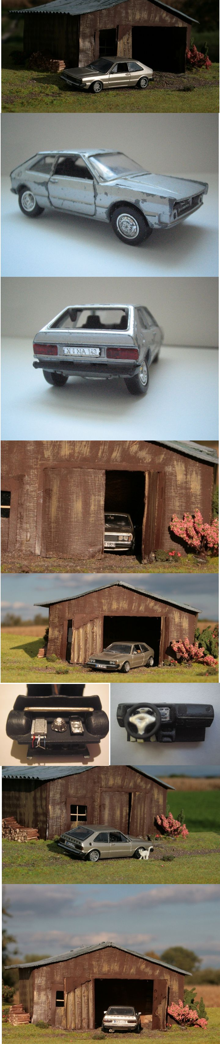 VW Scirocco MK1 1:43/ Original: Schuco (80er Jahre)/ Umbau: komplett Restauration, Lack, Decals, Innenraum inklusive selbstgebauten Armaturenbrett, Spiegel, Wischer, Auspuff, Felgen, Selbstgebauter Front mit Grill und Scheinwerfer, Selbstgebauten Stoßfängern...