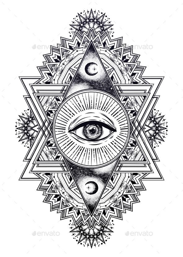 Triangle Composition With Sacred Geometry Eye. By