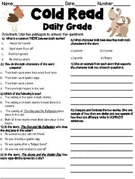 This document contains two short fables for students to answer questions on. The questions focus on comparing and contrasting the two passages.
