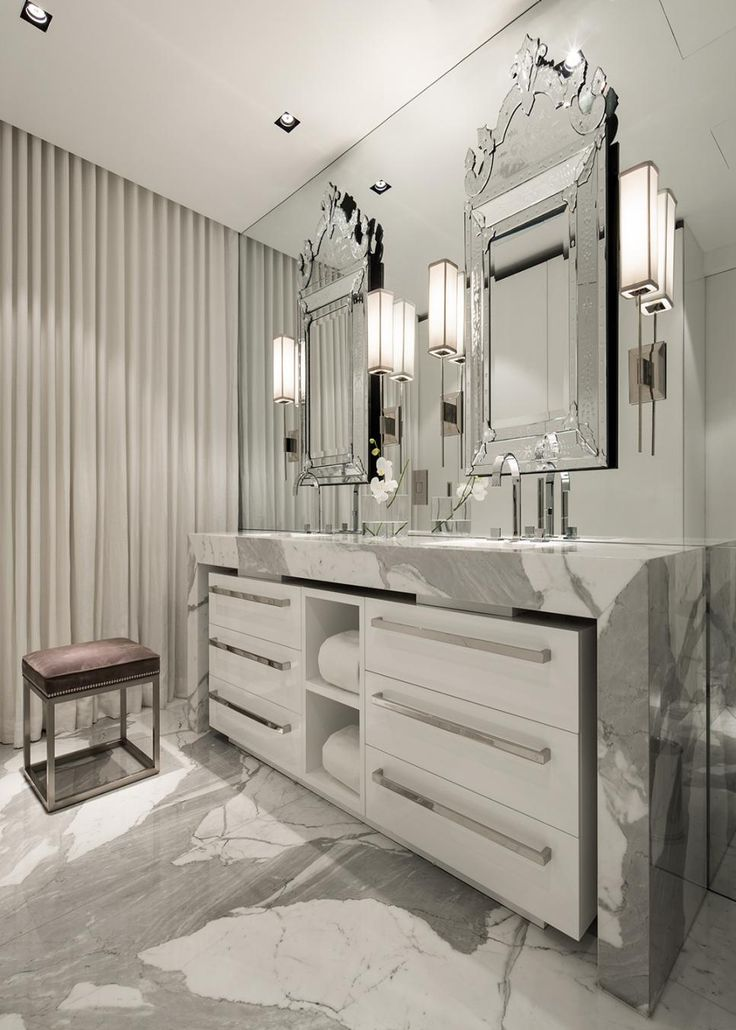 Attractive Gray And White Strikes A Majestic Note In The Master Bathroom. A Modern  Double Vanity Home Design Ideas