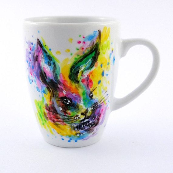 Colorful Hand Painted Bunny Cup Rabbit Mug Unique by atelierChloe