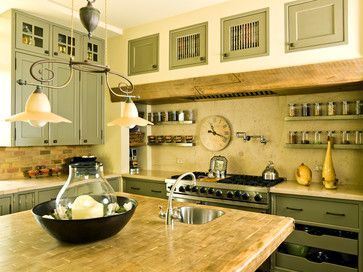 Simplifying in the Suburbs - traditional - kitchen - chicago - Cynthia Lynn Photography.  Grey green cabinets