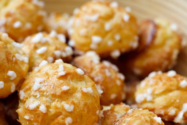 French chouquettes (cream puffs with pearl sugar)
