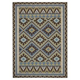 Loomed indoor/outdoor rug in green and chocolate with a Southwestern-inspired motif.   Product: RugConstruction Material: PolypropeleneColor: Green and chocolateFeatures:  Power-loomedMade in Turkey Note: Please be aware that actual colors may vary from those shown on your screen. Accent rugs may also not show the entire pattern that the corresponding area rugs have. Suitable for indoor or outdoor use.Cleaning and Care: Sweep, vacuum or rinse off with a garden hose