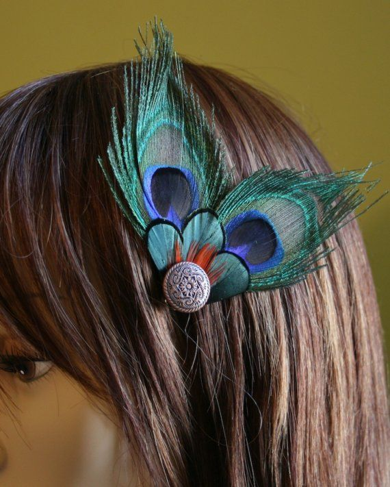Peacock Feather Meaning   Payton Peacock Feather Hair Fascinator with Vintage by PiperRiley