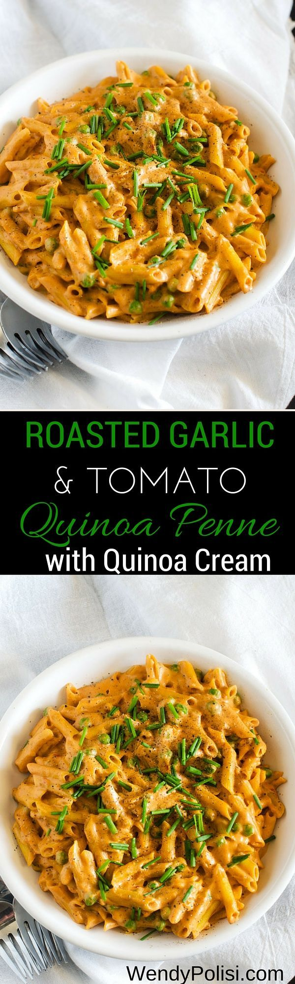 Creamy Roasted Garlic and Tomato Quinoa Penne - This healthy pasta dish has a secret ingredient....quinoa cream!  You will be amazed at what a great substitute it is for heavy cream. via @wendypolisi